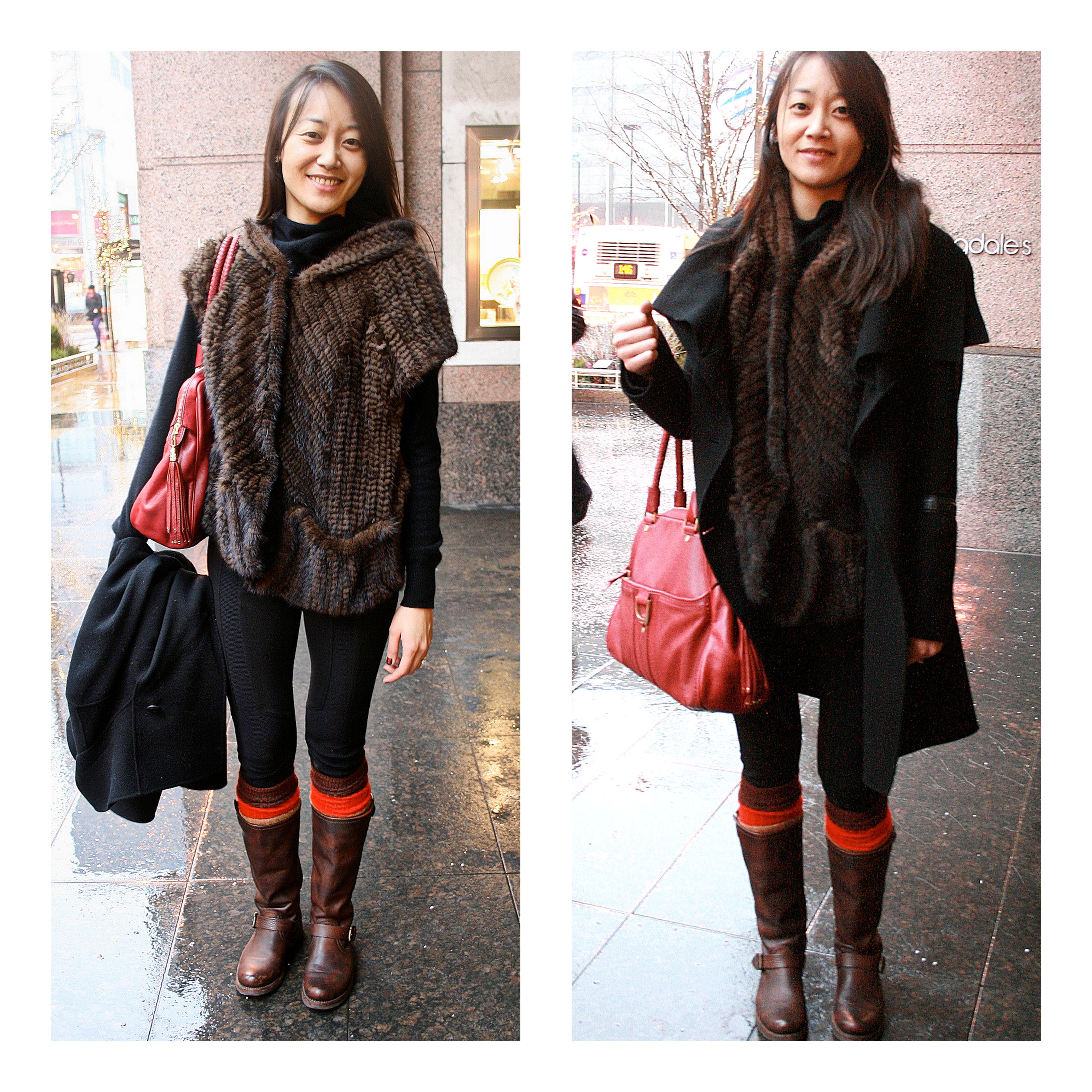 Ms. Jennifer Chou Chou in Private Mink, 7 for all mankind, Cole Haan & Machage