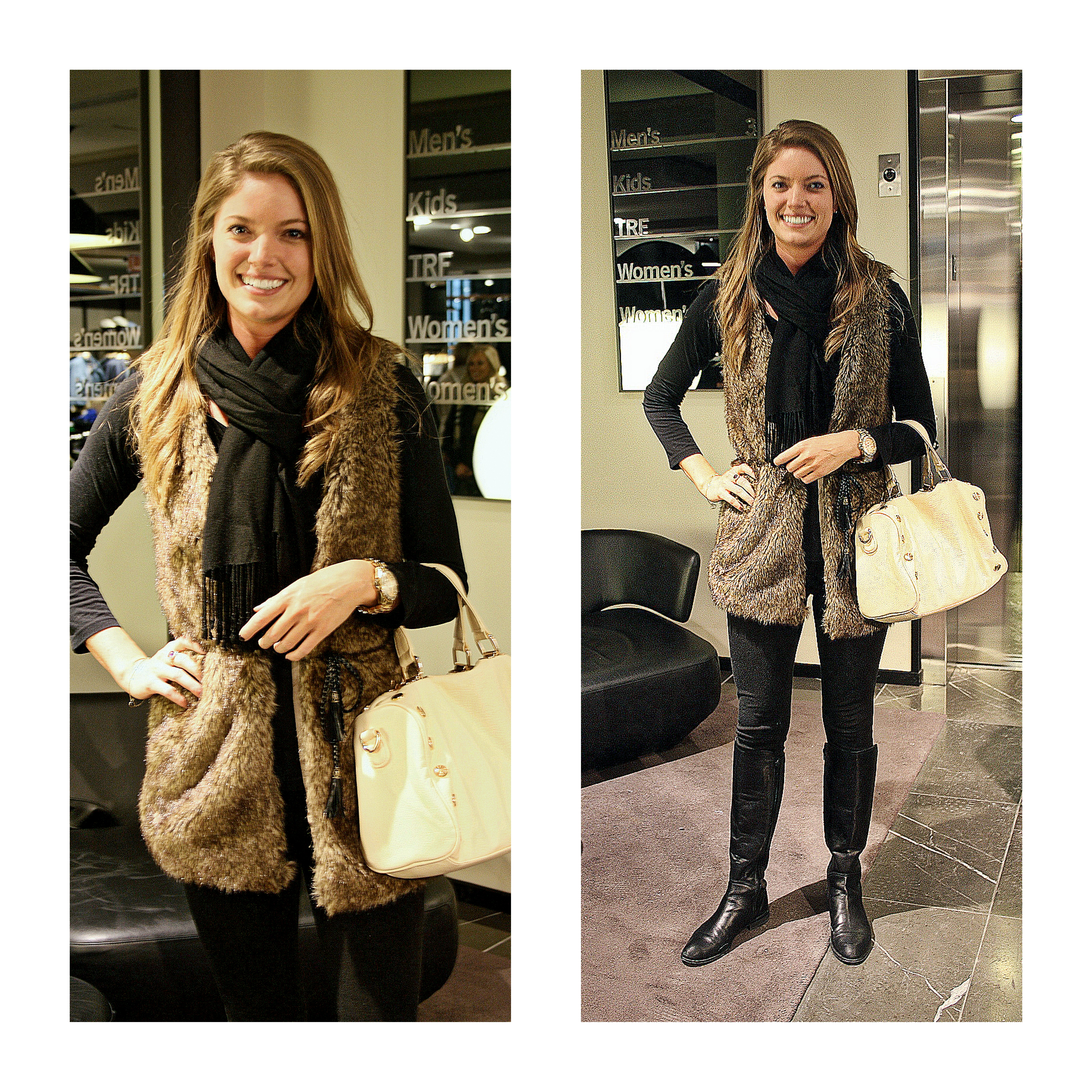 Ms. Aubrey Gilbert in a fake fur vest from Bloomingdales, Bag by Deux Lux and boots from Nordstrom. Watch by Peugeot
