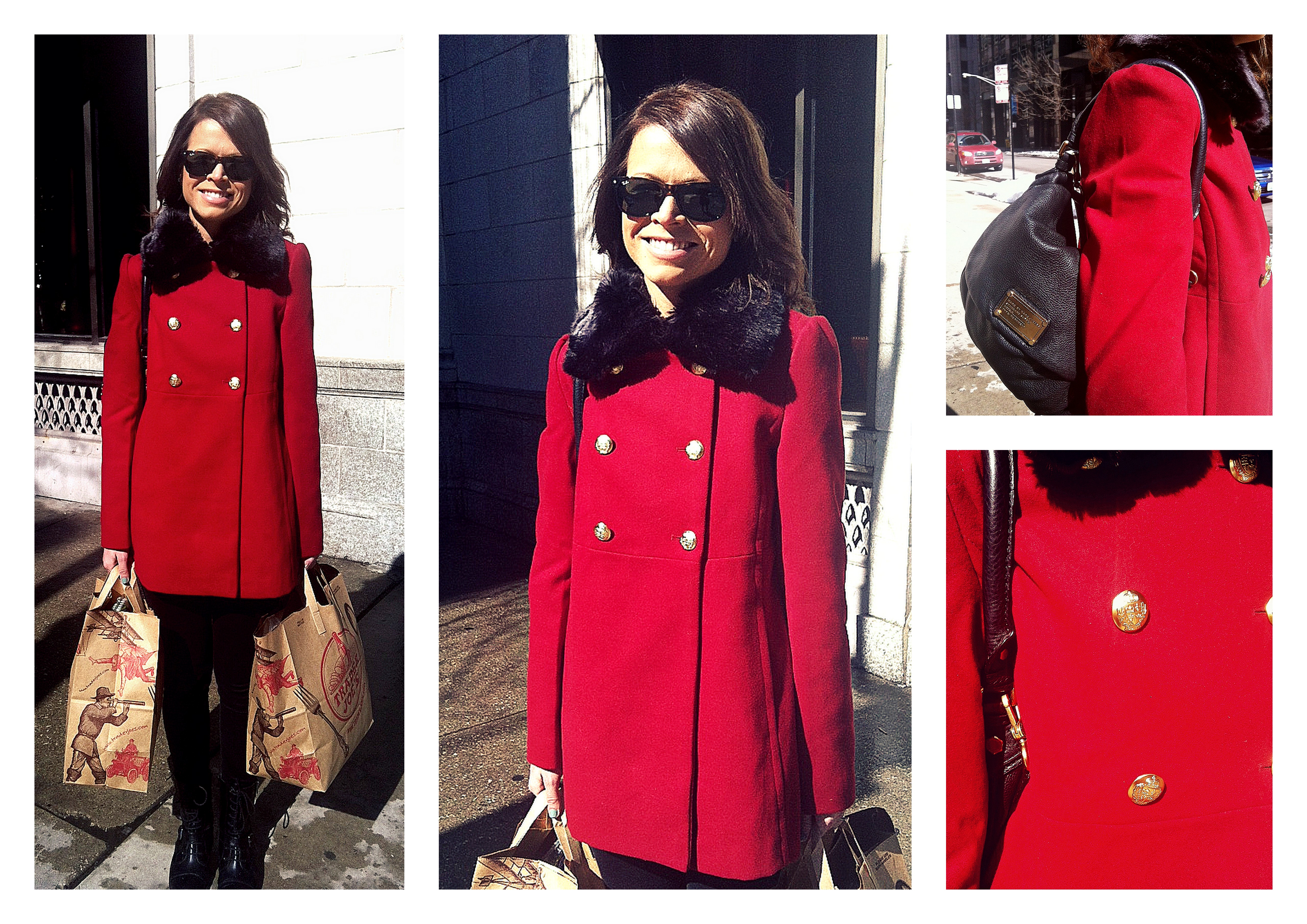 Ms. Meggie in an Express Coat, Marc Jacobs hand bag & Rayban Sunglasses