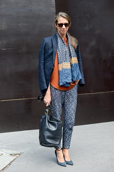 susan-cernek-exec-online-editor-fashion-and-beauty-us-glamour-vintage-scarf-uniqlo-jacket-j-crew-trousers-oliver-people-sunglasses-coach-bag-phillip-lim-top-and-sigerson-morrison-shoes-s