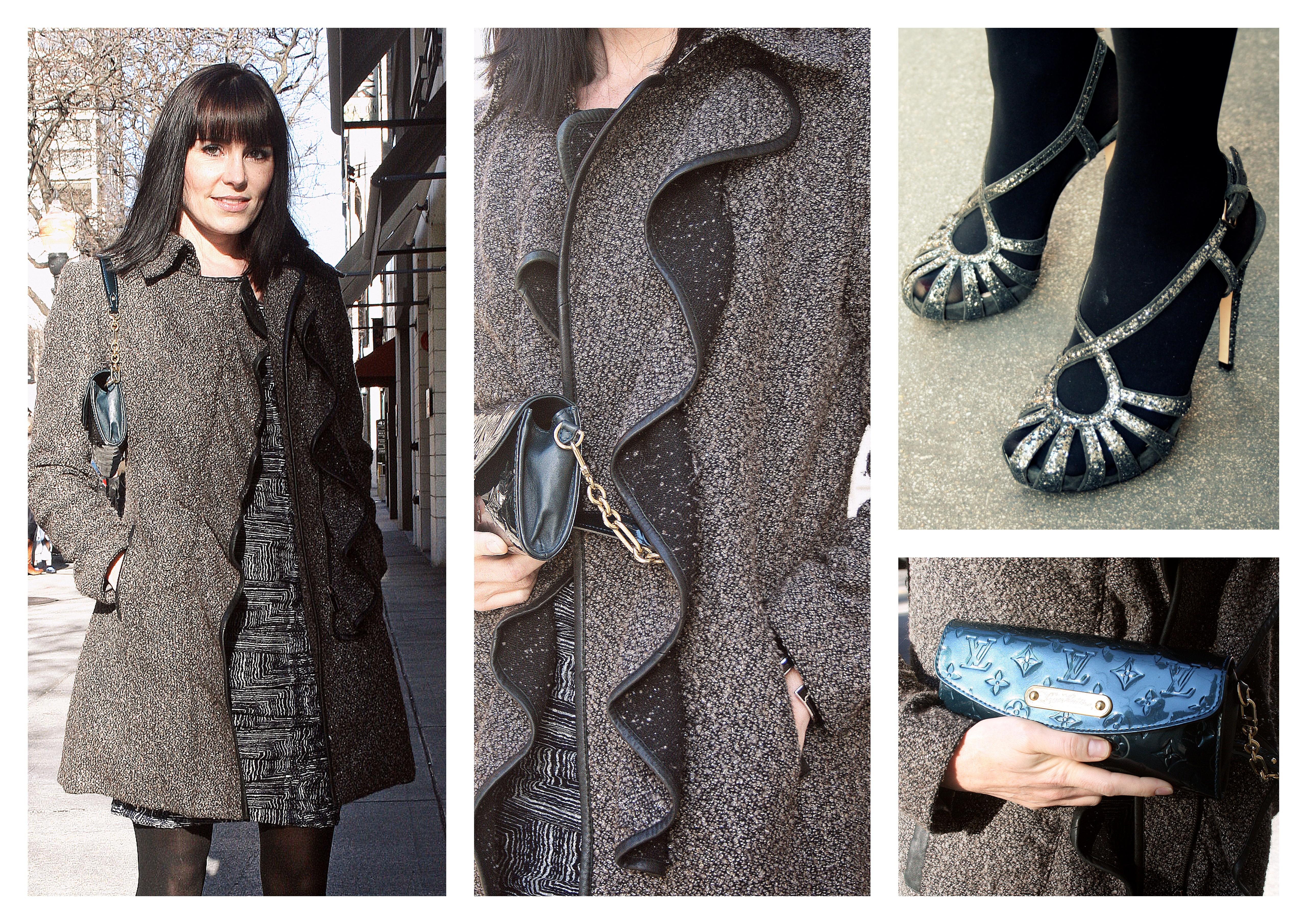Erin in a Badgley Mischka Coat, Miu Miu sparkley shoes & a Louis Vuitton patent clutch